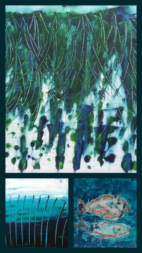 Collage aus: Dünen I, Am See, In der Tiefe
