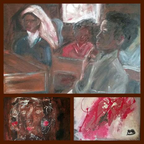 Collage aus: Die Erkenntnis, Trauer und Schmerz und Leidenschaft,  Mutter und Kind unter dem Terror