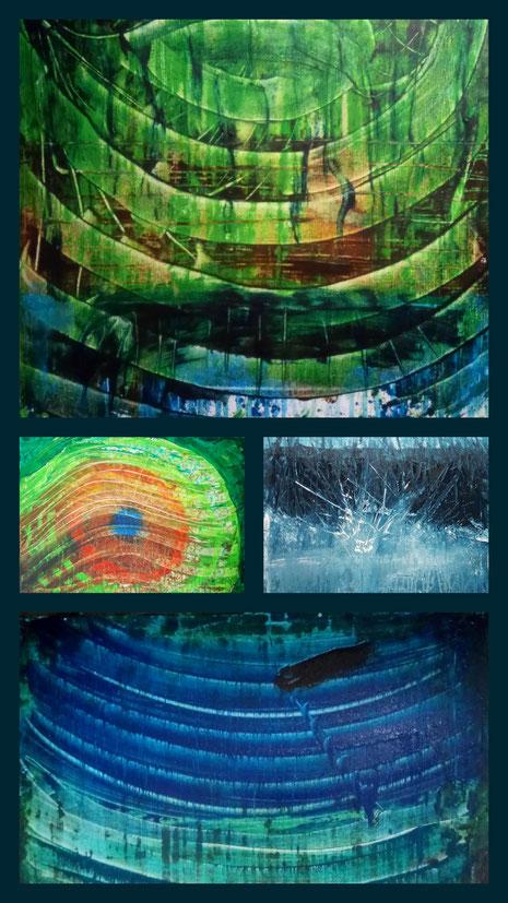 Collage  aus: Ringe (Spiegelung), Der Blick, Einschlag, Nacht am Wasser, Nicole Kraebber - Kunst in Deutschland - Acrylmalerei - Acrylic Paintings  - Germany