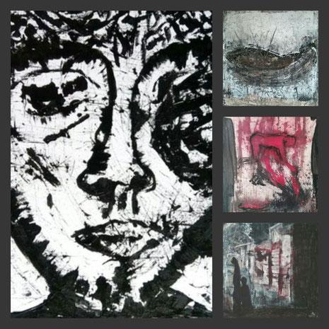 Collage aus: Der Moment des Innehaltens, Abkehr, Recht und Gerechtigkeit,  Das Boot (Die Wiege)
