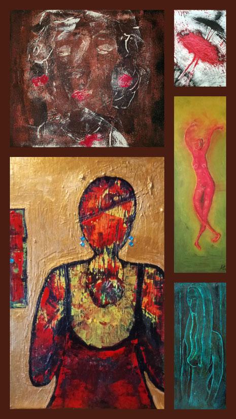 """Collage """"Frauen"""" aus: Trauer, Schmerz und Leidenschaft; Die Tänzerin I, Die Tänzerin II, Maria, Unschuld"""