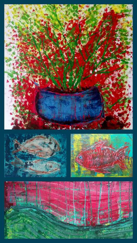 Collage aus: Blütenstrauch, In der Tiefe, Der rote Fisch, Wellen