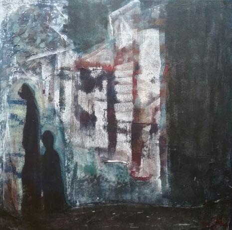 Kunst und Gewalt. Mutter und Kind in einer dunklen Straße