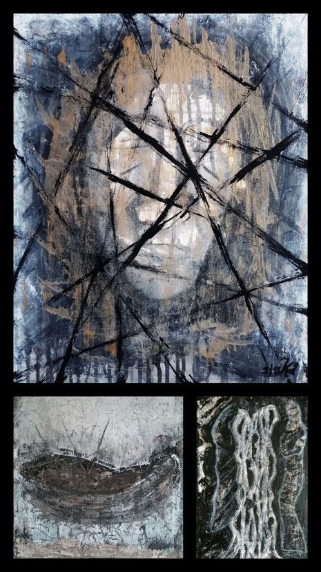 Collage aus: Gefangen, Die Wiege, Die Verborgenen , Arts and Violence at Nicole Kraebber Arts Online Exhibition