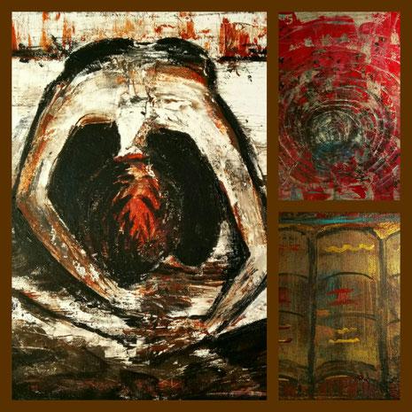 Collage aus: Der Junge mit dem Drachen - Verzweiflung, Die Katakombe, Die Schriften
