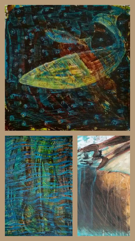 Collage aus: Fische am Grund, Wald im Monsun, Am Fluss