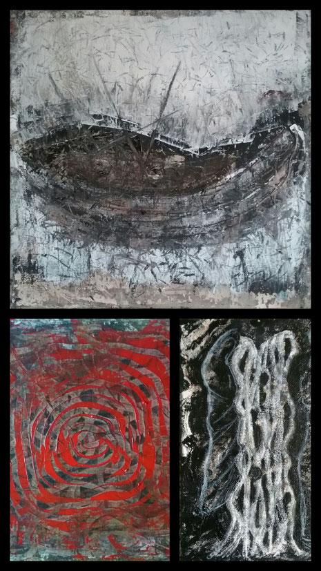 """Nicole Kraebber Arts Online Exhibition, Arts and Violence, """"Herkunft"""" aus: Das Boot (Die Wiege), Geflecht (Rose am Strick)), Die Verborgenen"""