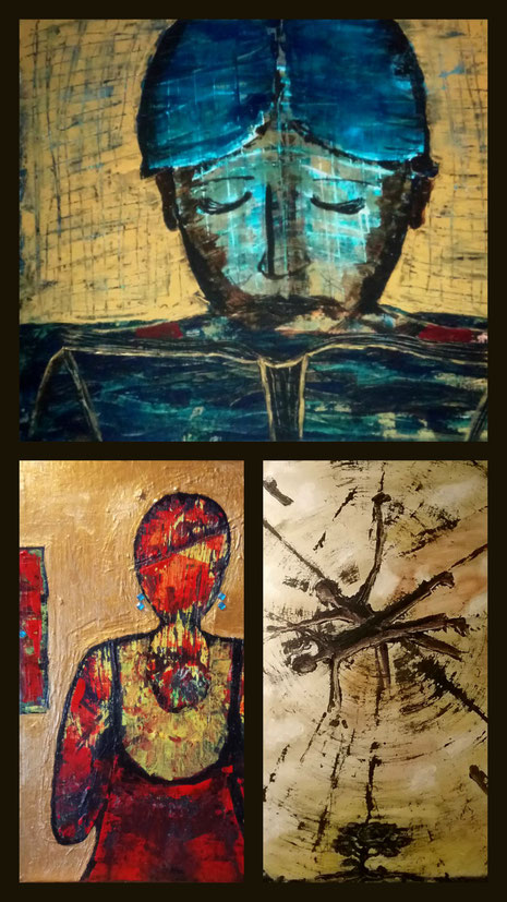 Kunst NRW, Arts Germany, Nicole Kraebber, Poetry and Paintings;  - Collage aus: Mein Königreich, Maria, Zwischen den Welten