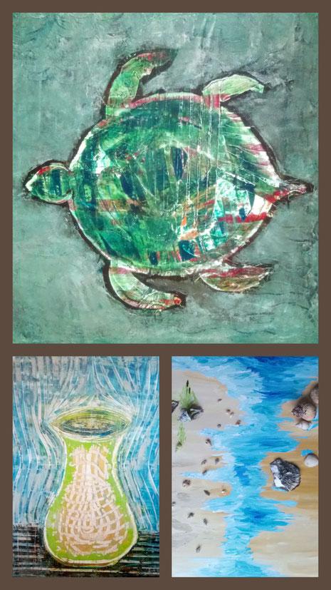 Collage aus: Die Schildkröte, Aura, Muschelstrand