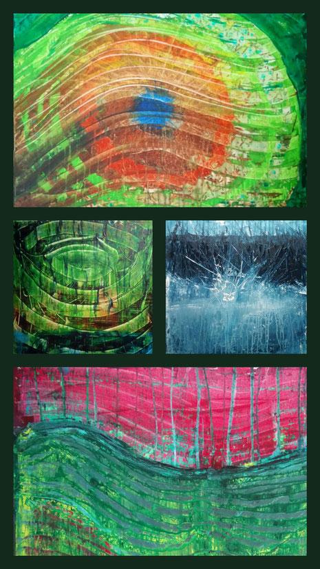 Collage aus: Ringe (Spiegelung), Der Blick, Einschlag, Wellen