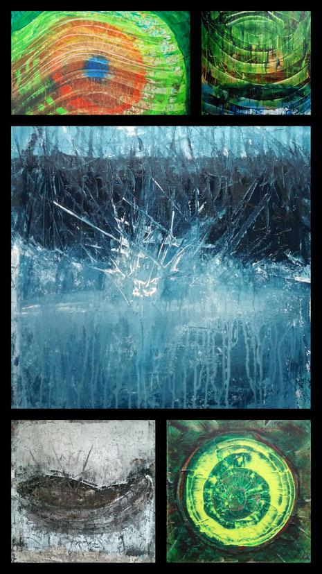 Collage aus: Der Blick, Ringe (Spiegelung), Einschlag, Das Boot (Die Wiege), Genesis (Übergang)
