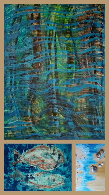 """Collage """"Surinam"""" aus: Wald im Monsun, In der Tiefe, Muschelstrand"""