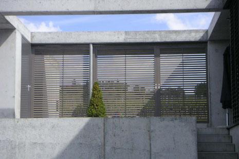 Neubau EFH Hööracker, Hallau I Aussenraum mit beweglichem Sichtschutz