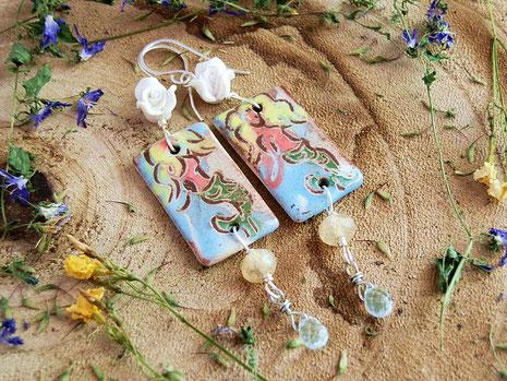 zeemeermin oorbellen met aquamarine