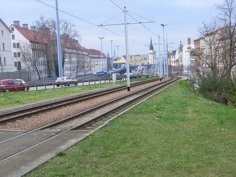 Hochstraßee+Straßenbahn zumFranckeplatz . . . . . Foto:Dr.W.Kelling