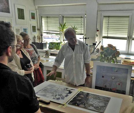 Druckvorführung Atelier Helmut Kesberg (Foto: Esch)