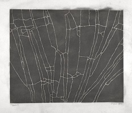 LUFT Linie 1, Graphit auf Papier, Knetradiergummi 2011, 48 x 62,5 cm