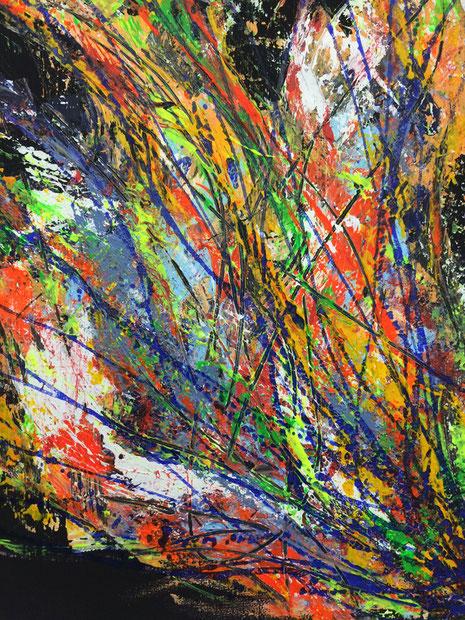Buntschwarz, Mischtechnik auf Leinwand (Acryl- und Airbrushfarben auf schwarzer Leinwand) 2017