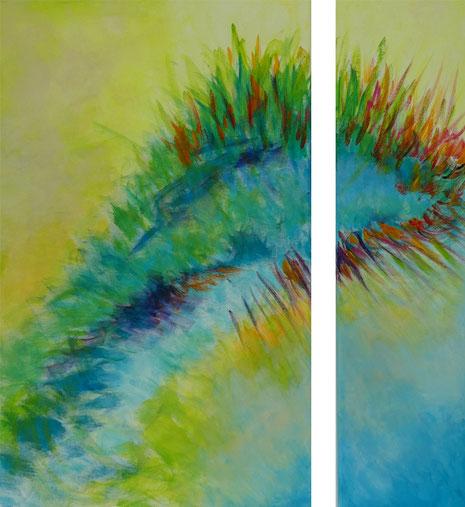 Urtierchen, Acryl auf Leinwand 2015, Diptychon 80 x 50 cm und 80 x 20 cm