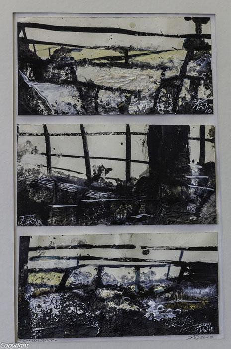 Time Balance,  Acryl auf Papier, 42 x 25,5 cm/gerahmt: 60 x 50 cm