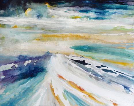 Zwischen Tag und Traum, Mischtechnik auf Leinwand, 120 x 150 cm