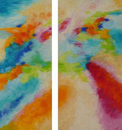 Ohne Titel, Acryl auf Leinwand 2013, Diptychon 100 x 40 cm und 100 x 50 cm