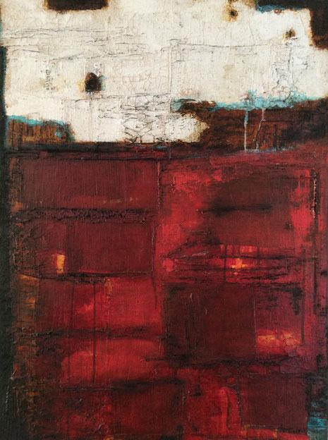 Rostrot, Mischtechnik auf Leinwand (Marmormehl, Acrylfarben, Airbrushfarben, Kaffee, Kohle) 2013