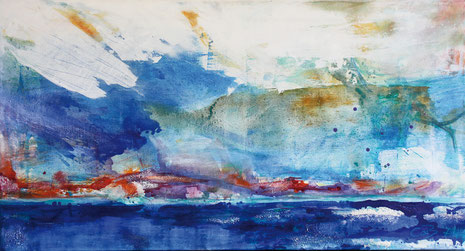 El cielo, Mischtechnik auf Leinwand, 80 x 150 cm