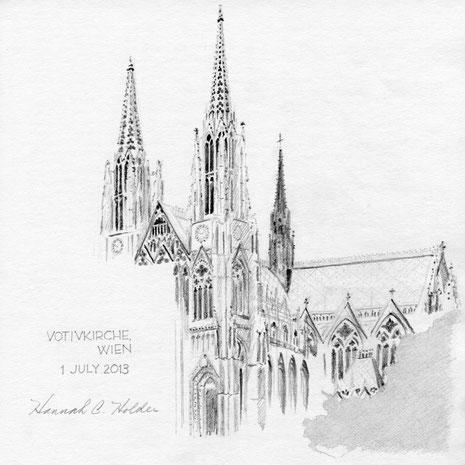 """Votivkirche, Wien, Austria (2013) 8""""x 8"""" © Hannah C. Holder SOLD"""