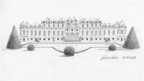 "Belvedere Palace, Wien, Austria (2013) 4""x 8"" © Hannah C. Holder"