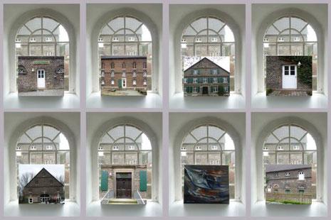 Die Öko-Station mal anders: verschiedene Motive des ländlichen Treffpunkts im stilvollen Fensterrahmen.