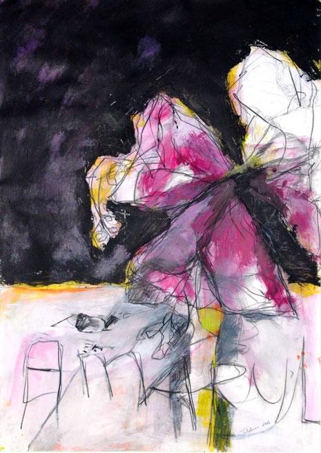 Rätselhafte Gestalten, fremdartiger Text - eine fast skizzenhafte Zeichnung mit starken Farbflächen - auch dies ein typisches Beispiel für die Arbeit von Jeanne Feldhaus.