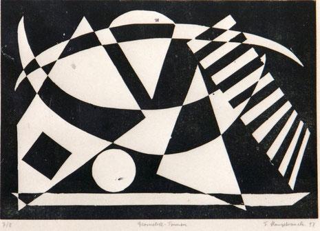 Geometrische Form in Schwarz-Weiß.