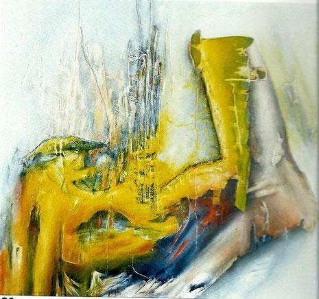 Gelber Einfluss, Öl auf Leinwand.