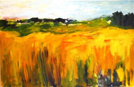 Ein Blick in die Landschaft in Gold und Grün.