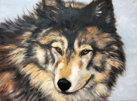 Wolf, Öl auf Leinwand, 160 x 120 cm, 2013.
