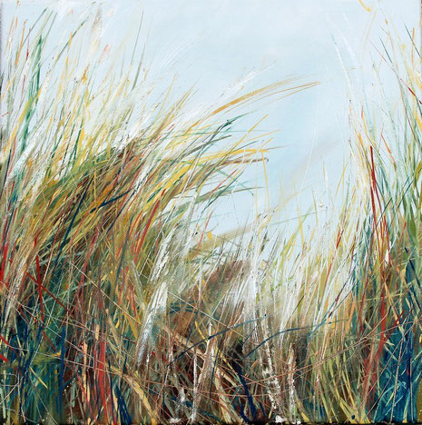 Strandhafer (II), Öl auf Leinwand, 40 x 40 cm.