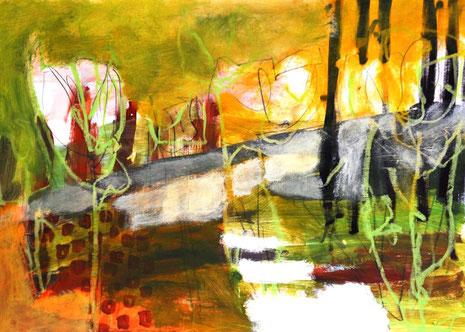 Eine Komposition aus malerischen und zeichnerischen Elementen.