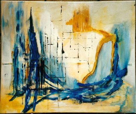 Auch bei der Malerei bleibt Friedhelm Hangebrauck der Abstraktion treu.