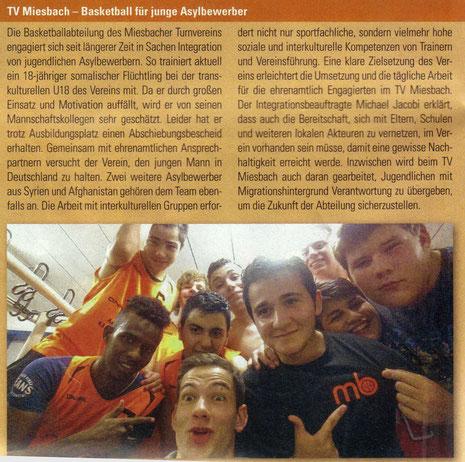 """Artikel in """"bayernsport"""" (Zeitschrift des BLSV), November 2014 - Zum Vergrößern Klicken"""