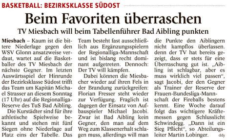 Artikel im Miesbacher Merkur am 10.12.2016 - Zum Vergrößern klicken