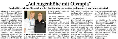 Bericht des Miesbacher Merkur am 10.8.2013 - Zum Vergrößern Klicken