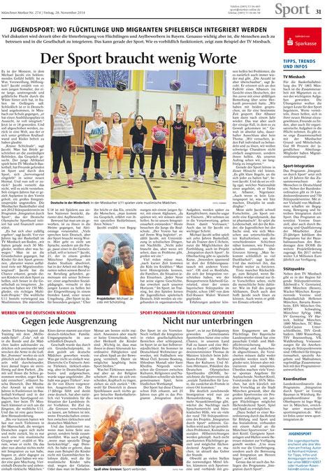 Seite (!) im Münchner Merkur am 28.11.2014 - Zum Vergrößern Klicken