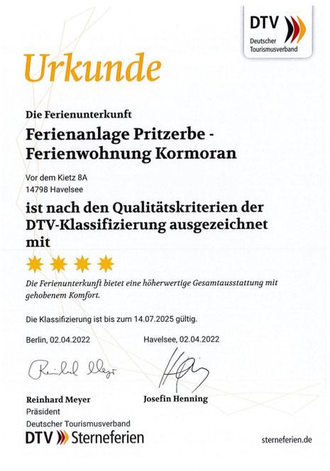 DTV Klassifizierung für die Ferienwohnung Kormoran