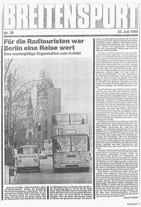 Zeitungsartikel über die Anfänge des Breitensports, NRVg. Luisenstadt Radsport