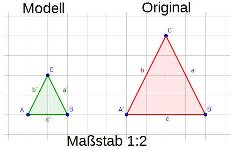 Beispiel des dem Maßstabs anhand von zwei Dreiecken