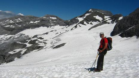 Christian sur le Glacier de Prazon. Que c'est beau!