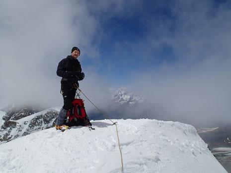 Gérard à 4228 m, au sommet du Castor