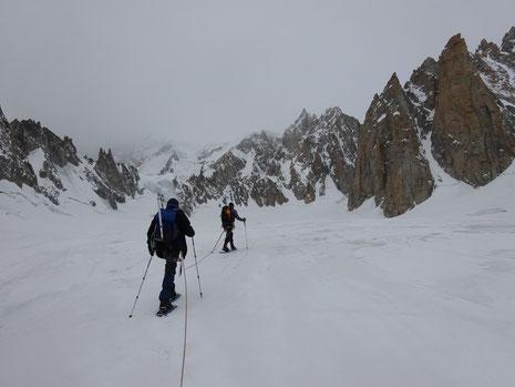 Sur le Glacier du Géant, en direction de La Combe Maudite