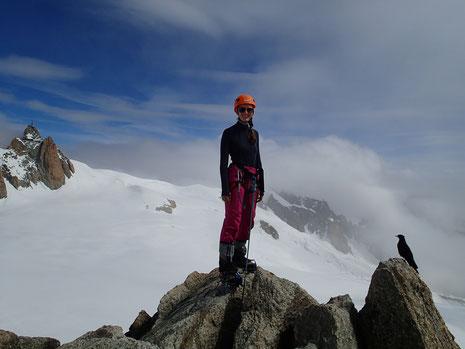 Daria au sommet de La Pointe Lachenal